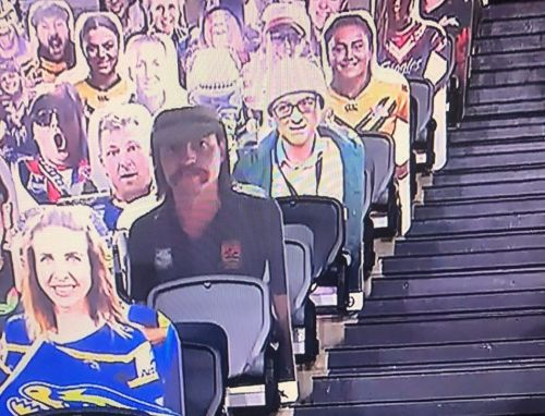 Dominic Cummings hilariously mocked as fan buys cardboard cutout to sit at rugby match. 10,500 miles away in Sydney