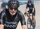 Harrison Ford dons black cycling ensemble as he heads out for a beachside bike ride in LA