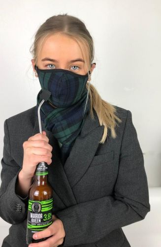 Slanj Kilts have added a 'drinking mask' to their popular range of tartan face coverings