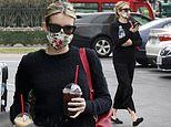 Emma Roberts picks up a double dose of caffeine as she covers up in floral mask for errands run