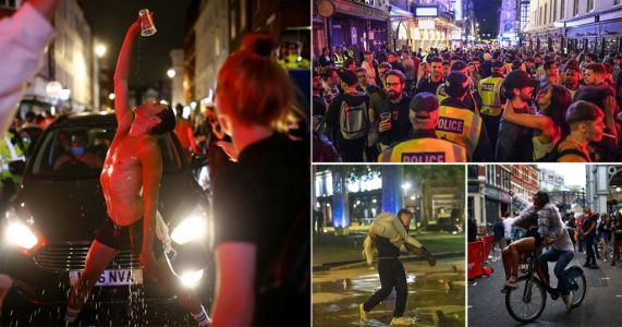 Brits party well into the morning on chaotic first night of pubs reopening