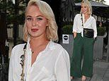 Jorgie Porter looks incredibly chic in green wide-leg trousers as she showcases new hairdo