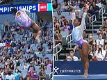 Slow-motion video shows Simone Biles barely touching the ground during a tumbling pass