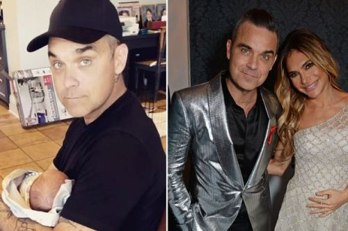 Ayda Field shares adorable new video of Robbie Williams cradling their newborn son Beau