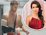 Justin Hartley sports a sling as her fetches mail. amid new romance with Sofia Pernas