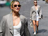 Ashley Roberts puts on a leggy display in white shorts teamed with a grey blazer