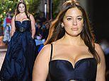 Ashley Graham makes a busty catwalk appearance at Milan Fashion Week in silk blue Etro gown