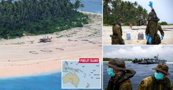 Sailors stranded on deserted Pacific island saved by 'SOS' message in sand