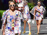 Ashley Roberts puts on a leggy display in a multi-coloured graphic mini dress as exits Heart FM