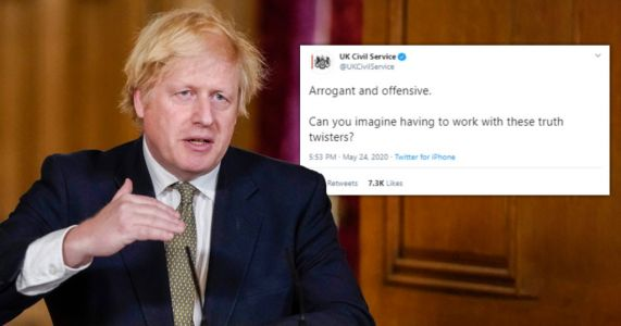 UK Civil Service account tweets about 'arrogant and offensive' PM