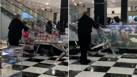Moment raging shopper causes $100k of damage in Bloomingdales' beauty department