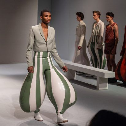 """Harikrishnan's inflatable latex trousers create """"anatomically impossible"""" proportions"""