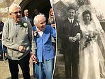 Besotted couple in their 90s return to church they married in to renew wedding vows after 75 years