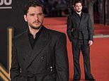 Kit Harington scrubs up in a black double breasted coat at Marvel's Eternals screening in Rome