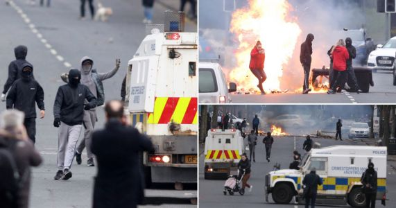 Road set alight as protesters clash with police in fresh Northern Ireland unrest