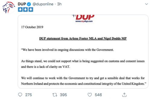 """The DUP rejects the fledgling Brexit deal """"as it stands"""""""
