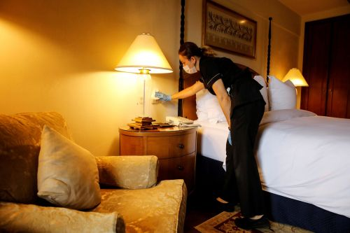 The risk of catching COVID-19 in a hotel room is very low if it's properly cleaned, experts say