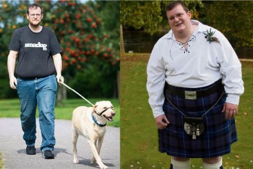Overweight dad-of-three shed 10st by walking his pet Labrador Jake once a day
