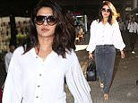 Priyanka Chopra looks effortlessly chic in white shirt at Mumbai Airport