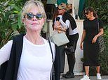 Melanie Griffith meets up with Eva Longoria for lunch at San Vicente Bungalows on Thursday
