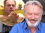 Sam Neill and Hugo Weaving strip down in hilarious bath-time skit as they self-isolate