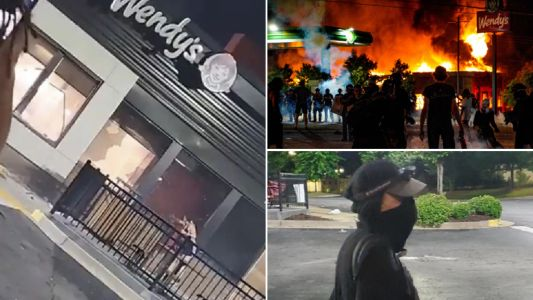 Police search for masked woman seen setting restaurant on fire after Rayshard Brooks' death
