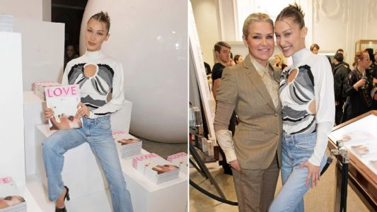 Bella Hadid keeps it in the family as she poses with mum Yolanda Foster at London Fashion Week signing