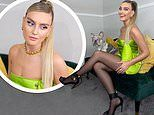 Perrie Edwards puts on leggy display as she dons lime green dress for cute snap with bulldog Travis