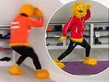 Joe Wicks headbutts the ceiling while dressed as the Honey Monster in latest gaffe