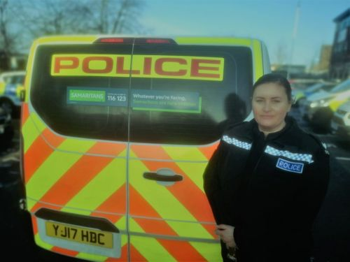 Police use their vans to spread the message about mental health support