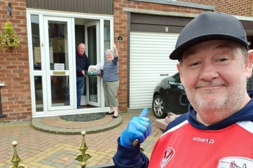 Johnny Vegas delivers food to vulnerable residents and NHS staff in hometown