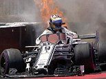 Marcus Ericsson's car catches FIRE as Lewis Hamilton goes fastest for French GP