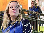 Elisabeth Moss dons leather jacket as she takes her mother out for sushi dinner on Valentines Day