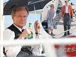Bill Nighy looks dapper in a black waistcoat and trousers filming new Amazon series at Worthing Lido