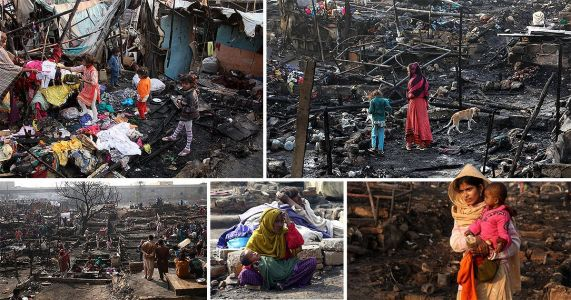 Hundreds of families made homeless after huge fire rips through slums