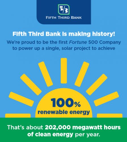 US-based Fifth Third Bank makes history by powering up 100% renewable solar facility