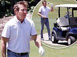 Dennis Quaid indulges in a round of golf as he plays solo on a Bel Air course