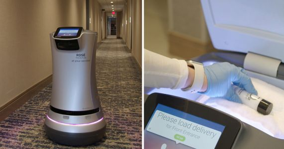A hotel in California has a robot delivering rosé wine to rooms to avoid human contact