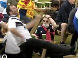 Angry Scotland supporter tries to kick a table and misses live on TV after Euro 2020 exit
