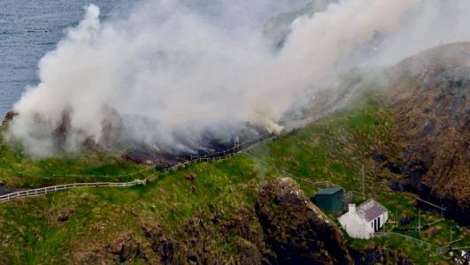 Fire crew tackle second fire on Carrick-a-Rede island in less than a week