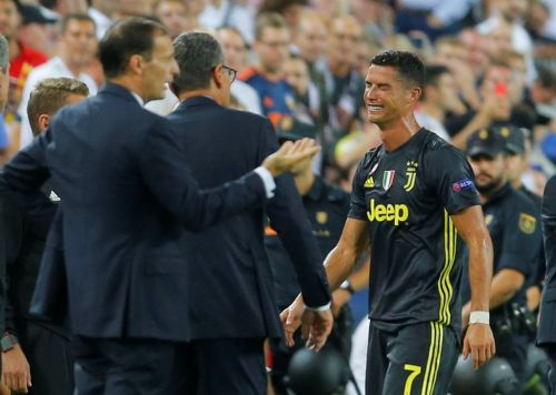 Cristiano Ronaldo in tears after red card on Juventus Champions League debut