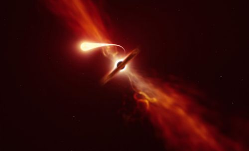 Astronomers captured rare images of a black hole shredding a star into spaghetti-like strands and devouring it