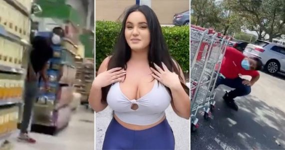 Model films from her back pocket to see how many people stare at her when she's not looking