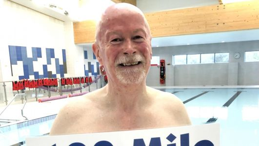 Pensioner Mark Kernaghan makes a splash as he completes charity swim in memory of late wifeCathy