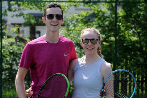 Couple's big day delayed due to lockdown but it's still love-all on the courts