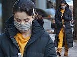 Selena Gomez is wintry chic in a orange sweatsuit while in NYC to film Only Murders In The Building
