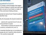 'Critical' shortage of coronavirus test component means some London hospitals could run out in DAYS