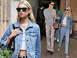 Stella Maxwell wears double denim as she arrives for the Etro show at MFW