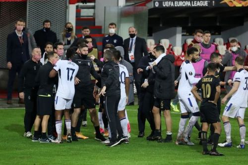 Rangers and Standard players clash as Europa League clash gets heated