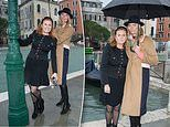 Sarah Ferguson frolics in the rain with supermodel Jodie Kidd as they visit flooded Venice